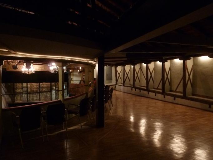 Les anciennes loges sont signalées dans le parquet. Les niches à colombages possédaient jadis des fenêtres et des portes permettaient aux clients de l'hôtel voisin d'assister discrètement aux représentations.