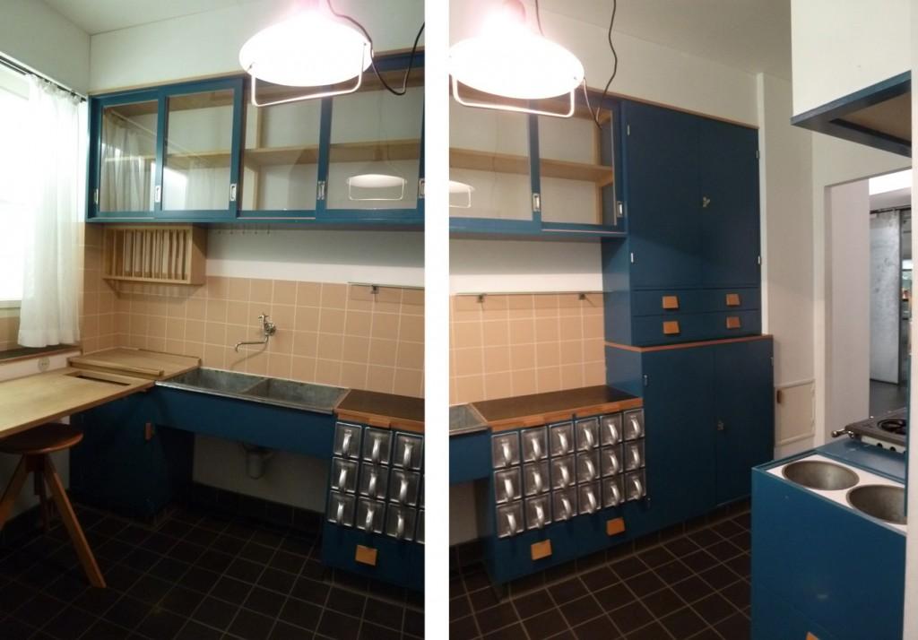 La table de travail, l'égouttoir et l'évier/Le meuble à provisions, le vaisselier et le vide-ordure