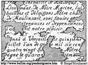 L'acte de propriété du chevalier François de Hadoque dans l'aventure Le trésor de Rackham le Rouge