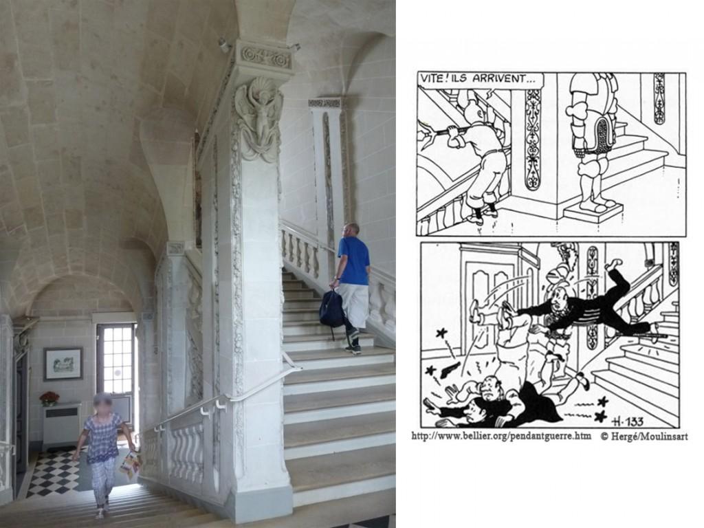 L'escalier du château de Cheverny/Scènes dans l'aventure Le secret de la licorne