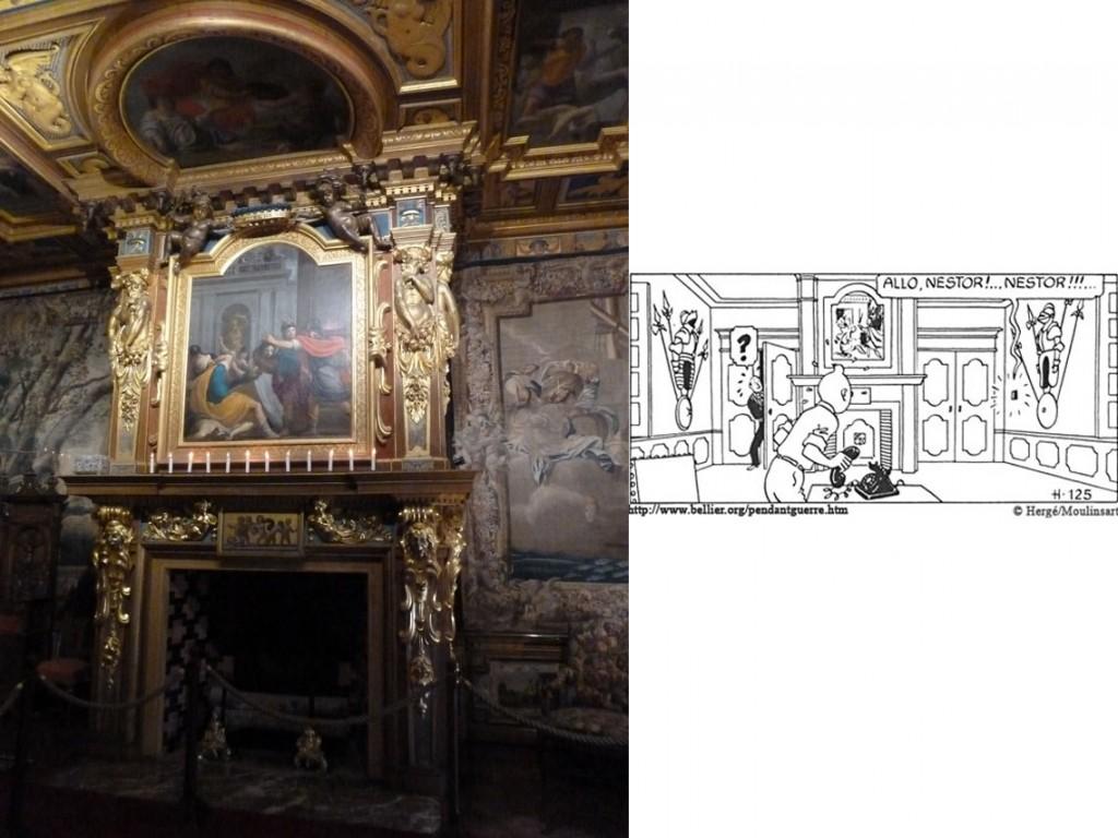 Cheminée de la chambre du roi/Scène dans l'aventure Le secret de la Licorne