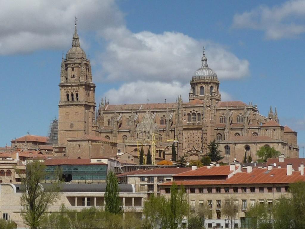 Seul son dôme (derrière la grue sur la photo) signale la vieille cathédrale dans le panorama de Salamanque