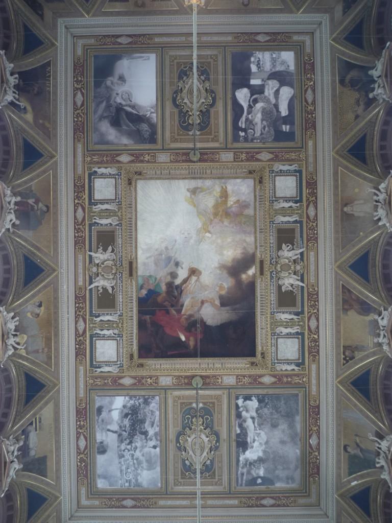 De haut en bas et de gauche à droite : La Théologie (de Franz Matsch), la Jurisprudence, le triomphe de la lumière sur les ténèbres (de Franz Matsch), la Philosophie et la Médecine.