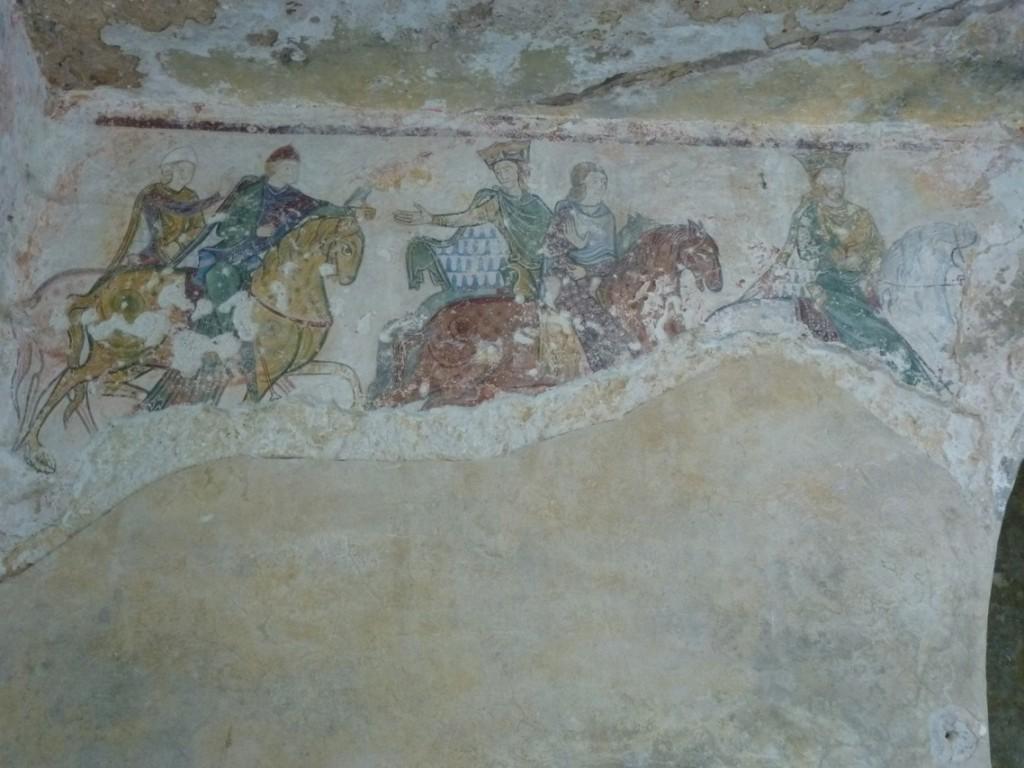Fresque de la chasse royale dans la nef troglodytique