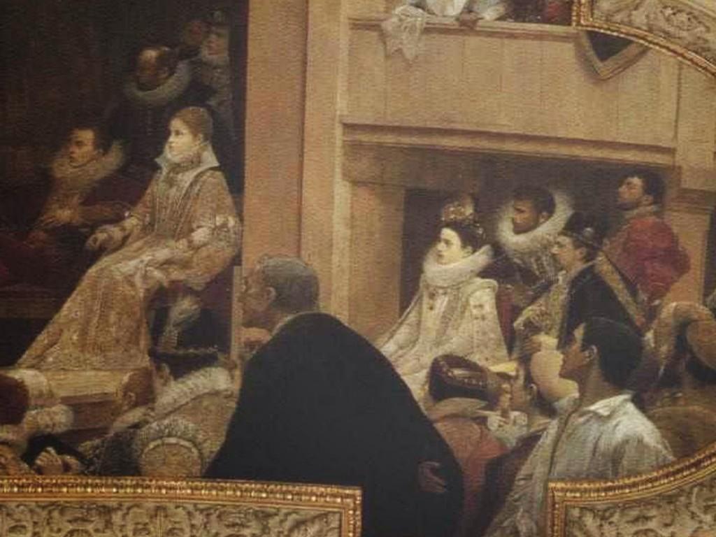 Fresque de Roméo et Juliette avec les trois peintres dans les spectateurs: Gustav Klimt avec la collerette blanche, Franz Matsch et Ernst Klimt adossé au poteau.