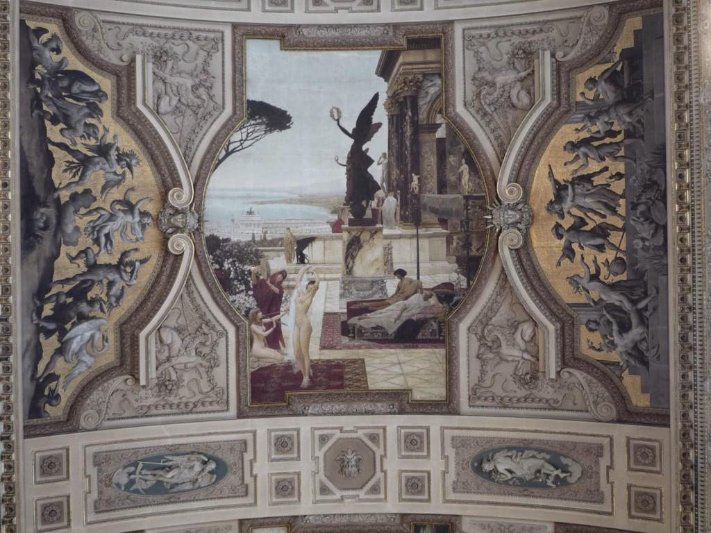 Escalier de gauche: Fresque du « Théâtre antique de Taormine » de Gustav Klimt