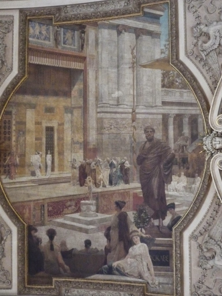 Escalier de droite: Fresque du « Théâtre de Dionysos à Athènes » de Franz Matsch